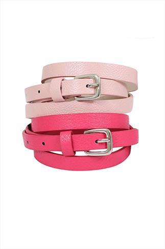 2 Pack Pastel Pink & Hot Pink  Skinny PU Jean Belt