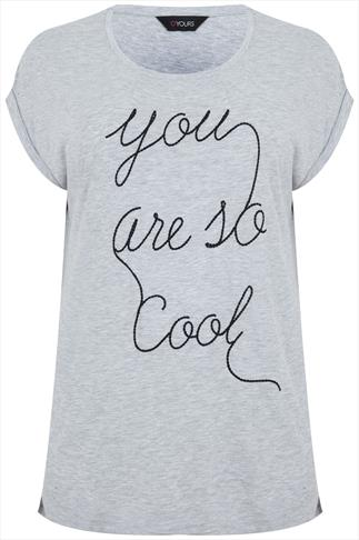 "Grey Short Sleeve Top With ""You Are So Cool""  Stitch Detail"