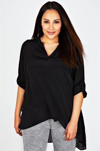 Black Notch Neck Silky Layer Blouse
