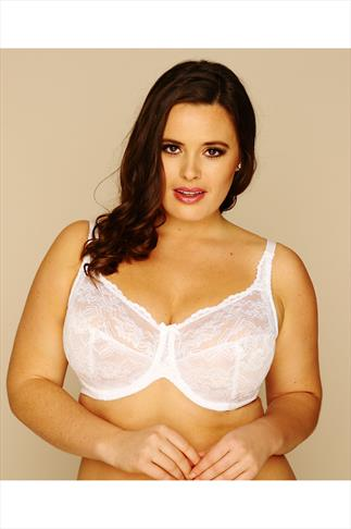 White Stretch Lace None Padded Underwired Bra
