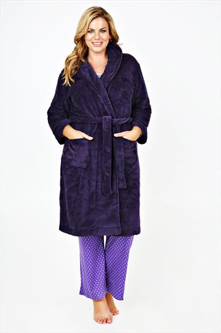 Purple Burnout Heart Fleece Dressing Gown With Pockets