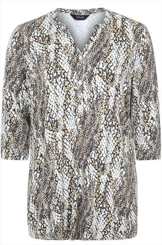 Ivory And Khaki Snake Print Jersey Shirt With Half Placket
