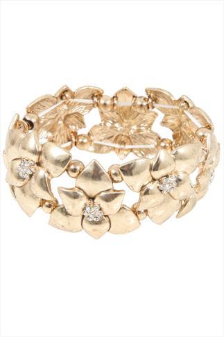 Gold Floral Stretch Bracelet With Diamanté Details