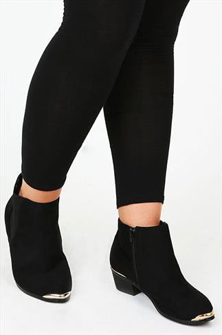 Black Suedette Pointed Ankle Boots With Gold Trim In EEE Fit