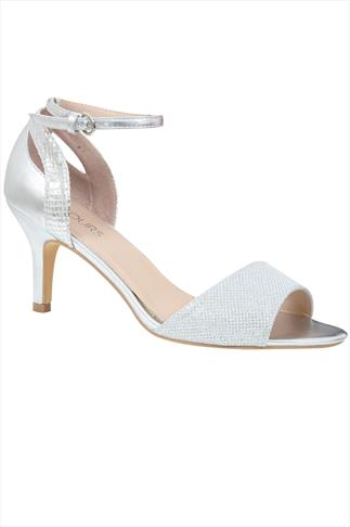 Silver Glittery Peep Toe Sandals With Ankle Strap In EEE Fit