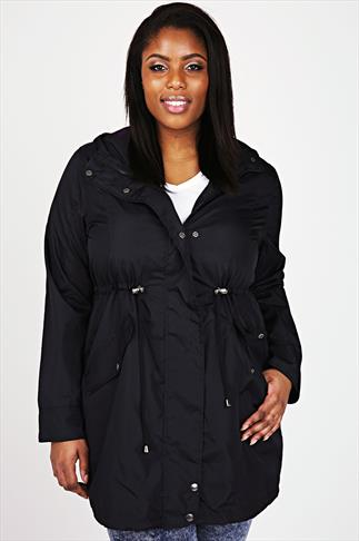 Black Poly Luxe Parka Jacket With Hood
