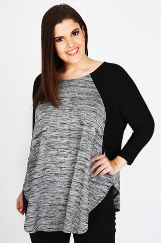 Grey & Black Curved Hem Top With Batwing Sleeves