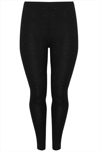 Black Viscose Leggings With Gold Studs