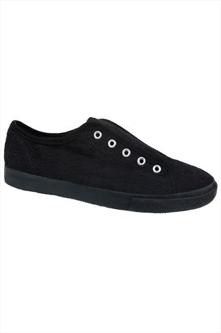 Black Floral Embroidered Slip On Canvas Laceless Plimsolls In EEE Fit
