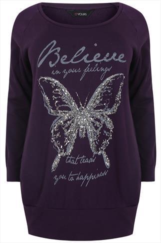 Purple & Silver Butterfly Embellished Jumper With 'Believe' Slogan