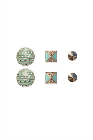 Gold And Mint Green Aztec 3 X Assorted Stud Earrings