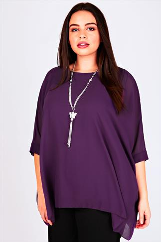 Purple Batwing Sleeve Chiffon Top With Necklace
