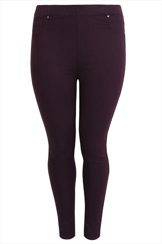 Purple Denim Jeggings With Elasticated Waist