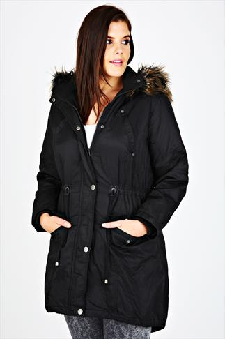 Black Twill Lined Parka With Fur Trim Hood