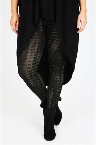 Black & Khaki Tie Dye Print Viscose Elastane Leggings