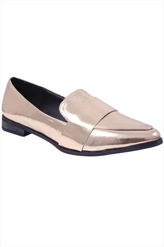 Metallic Rose Gold Pointed Toe Loafers In E Fit