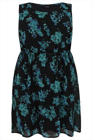 Teal Floral Print Embellished Skater Dress