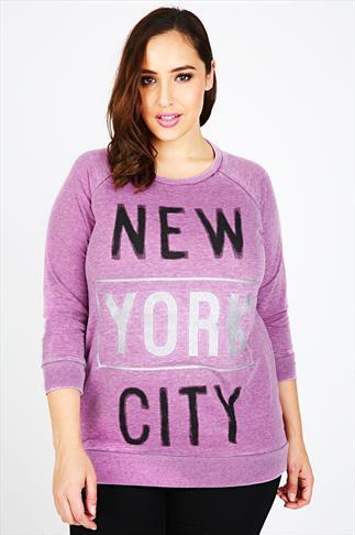 Pink New York City Burnout Sweat Top