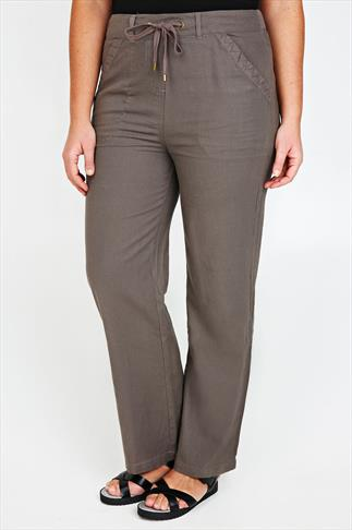 Taupe Linen Mix Full Length Trousers With Four Pockets