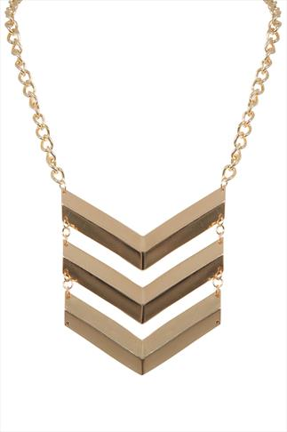 Gold Three Tier Chevron Chain Necklace