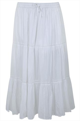 White Cotton Voile Maxi Skirt With Crochet Detail