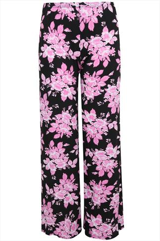 Pink Floral Palazzo Trousers With Elasticated Waist