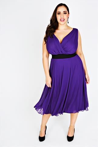SCARLETT & JO Purple Floaty Prom Dress With Black Ruched Waist Band