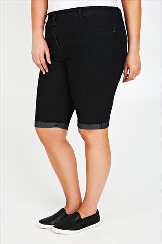 Black Denim Shorts With Stitch Detail