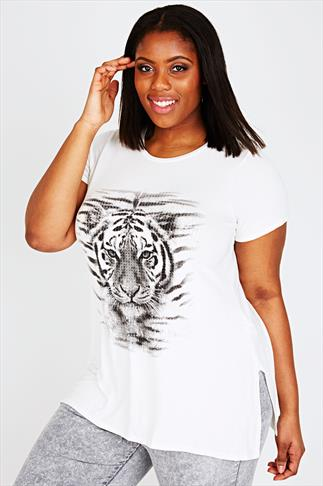 Cream Tiger Print Short Sleeve Top With Shimmer Disc Overlay