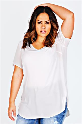 Ivory V-Neck Chiffon Top With Pleat Back & Dipped Hem