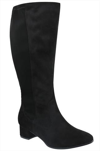 Black Knee High Microfibre Boots With Back Stretch Panel In EEE fit