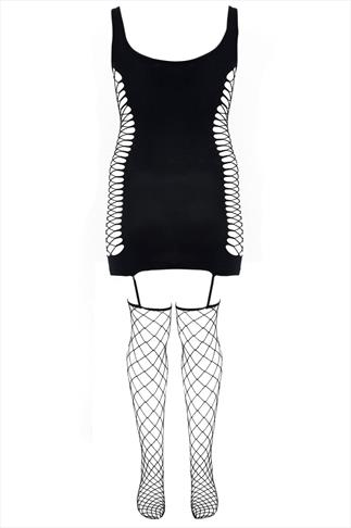 DREAMGIRL Black Fishnet Garter Dress With Attached Stocking