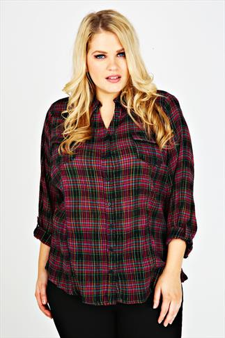Black, Pink & Gold Checked Double Pocket Shirt