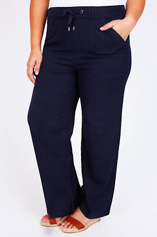 Navy Linen Mix Full Length Trousers With Four Pockets 28""