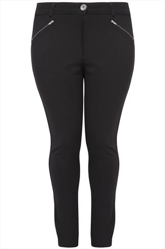 Black Ponte Stretch Jersey Trousers With Zip Detail