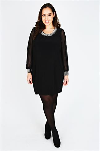 Black Chiffon Sleeved Dress With Silver Bead Embellishment