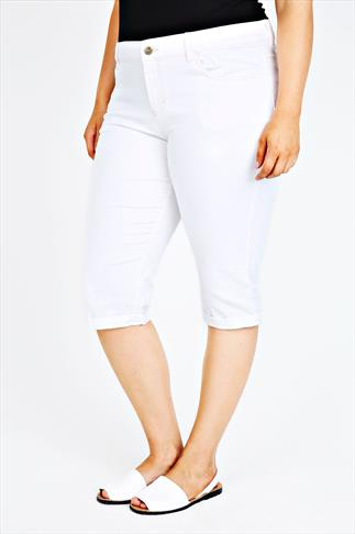 White Cropped Jeans With Contrast Stitching