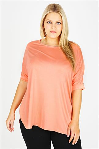 Coral Oversized Batwing Top With Split Hanky Hem