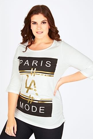 "Cream ""Paris LA Mode"" Print Top With 3/4 Length Sleeves"