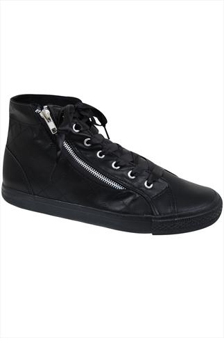 Black Faux Leather Ribbon Lace Hi Top Trainers In EEE Fit