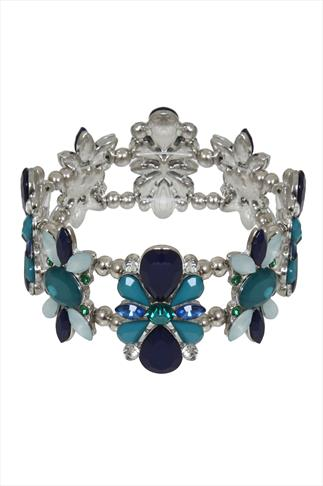 Green & Blue Crystal Stretch Bracelet