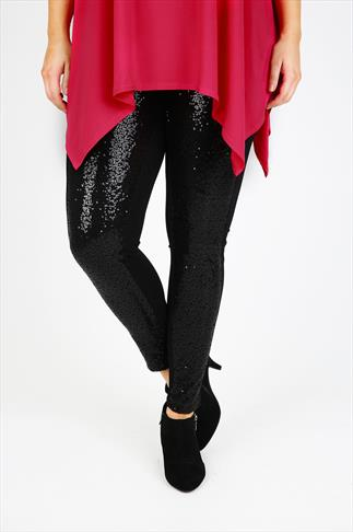Black Sequin Front Panel Ponte Leggings With Elasticated Waist