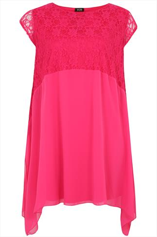 Fuchsia Chiffon Swing Dress With Lace Top Panel & Hanky Hem