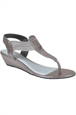 Silver Snake Print Wedge Elasticated Toe Post Sandal In EEE Fit