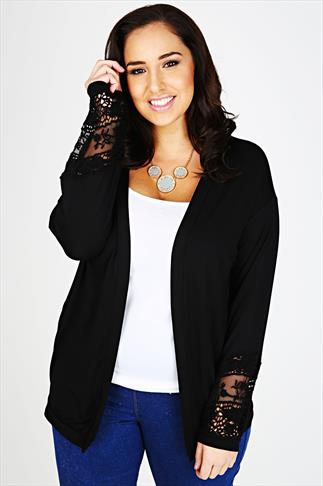 Black Jersey Cardigan With Crochet Cuff Detail