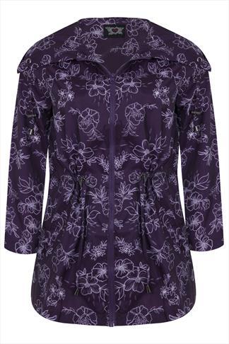 Purple Floral Print Shower Resistant Parka Jacket With Hood