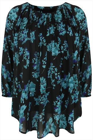 Black & Teal Floral Print Blouse With Pin Tuck Detail