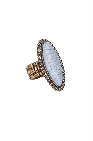 Antique Gold & Pale Blue Marble Stone Stretch Ring
