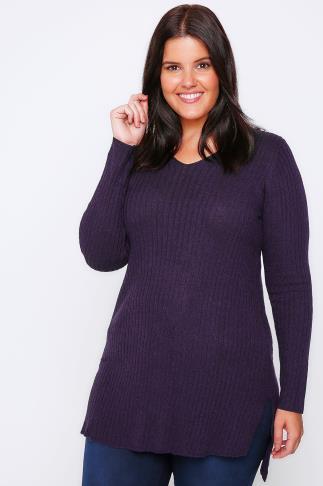 Aubergine Purple Wool Blend Ribbed Jumper With Side Slit Detail