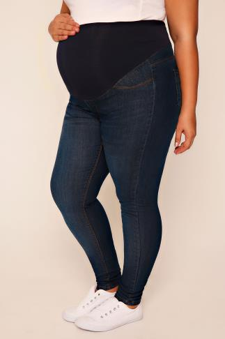 BUMP IT UP MATERNITY Blue Denim Denim Super Stretch Skinny Jeans With Comfort Panel
